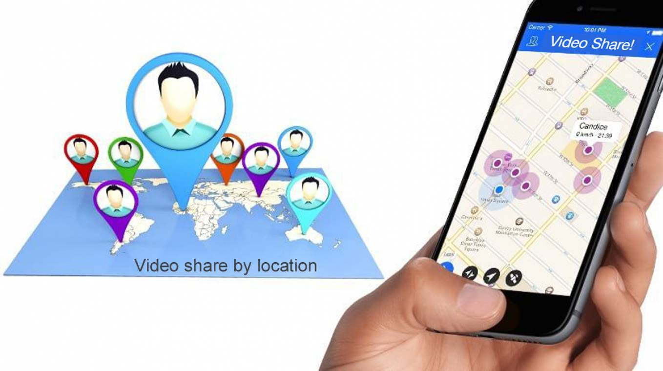 Video share by location! Upload videos and music and expose your video clips worldwide.